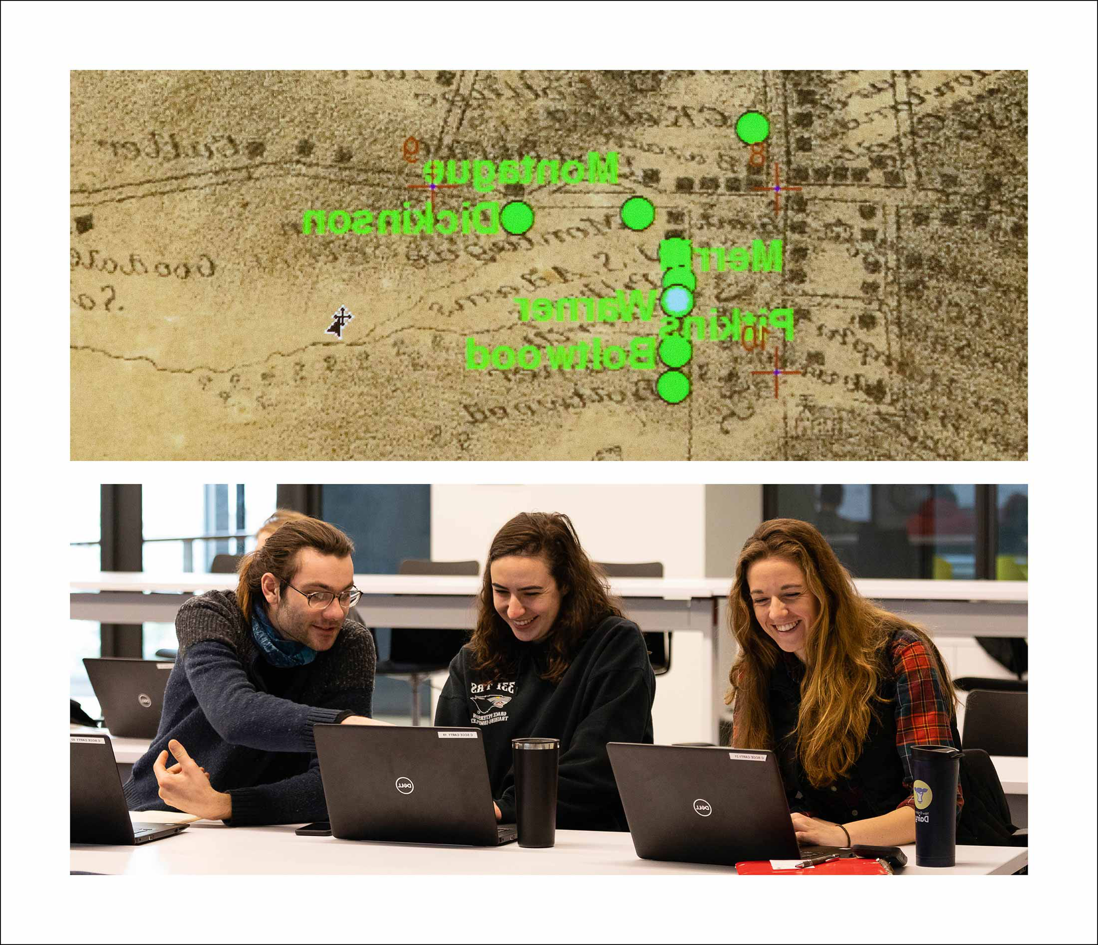 Three people gather around several laptops as well as an image of an old map of Amherst, Ma.