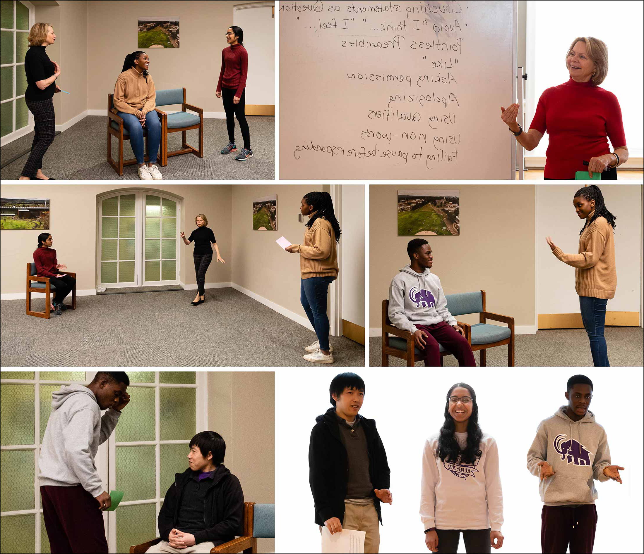 Collage of images of students practicing their public speaking skills