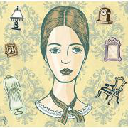 An illustr在ion of Emily Dickinson surrounded by household objects